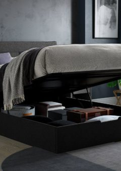Sutton Upholstered Ottoman Bed Frame 4'6 Double GREY