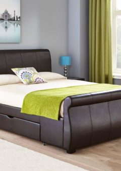 Lucia Brown Faux Leather Upholstered Bed Frame 4'6 Double