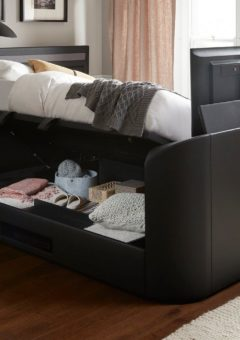 Tokyo D Otto TV/Media Bed Black Leather SMART TV 4'6 Double
