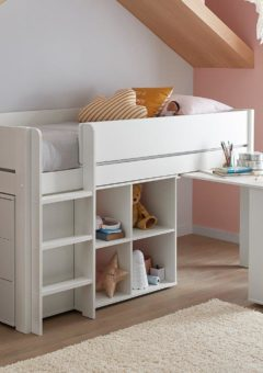 Tinsley Mid Sleeper Bed Frame with Storage & Drawers WHITE