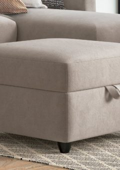 Fabric Accent Ottoman Footstool - Natural