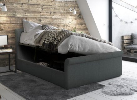 Wilson Grey Fabric Upholstered Bed Frame 4'6 Double