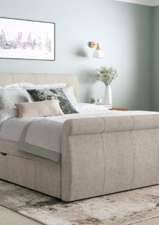 Lucia Silver Fabric Upholstered Bed Frame 6'0 Super king