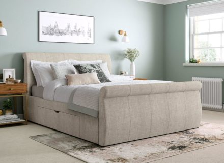 Lucia Silver Fabric Upholstered Bed Frame 4'0 Small double