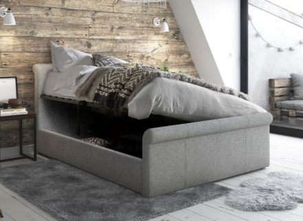 Wilson Silver Fabric Ottoman Bed Frame 5'0 King