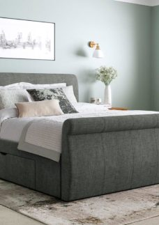Lucia Grey Fabric Upholstered Bed Frame 4'6 Double
