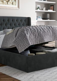 Deacon Upholstered Ottoman Bed Frame 4'6 Double GREY