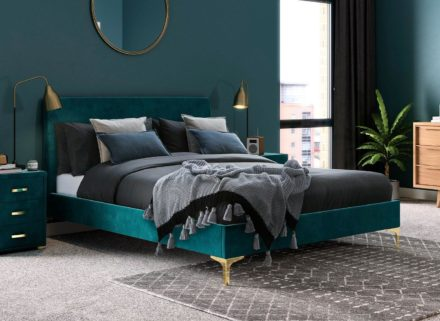 Prestwood Velvet Upholstered Bed Frame 4'6 Double GREEN