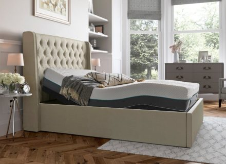 Deacon Sleepmotion 200i Adjustable Upholstered Bed Frame 5'0 King CREAM