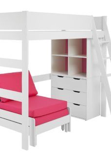 Anderson High Sleeper With Pink Chair WHITE