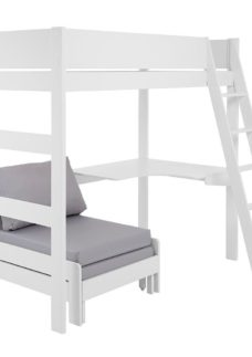Anderson Desk High Sleeper With Silver Chair WHITE