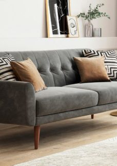 Gallway 3 Seater Sofa Bed - Steel Grey Velvet