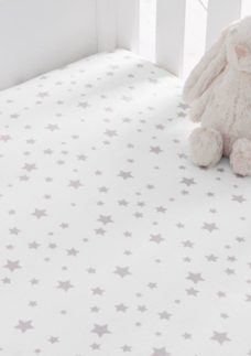 S'Night Printed Star Fitted Sheet Cotbed - Grey