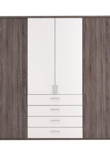 Melbourne 4 Door Wardrobe - Oak & White