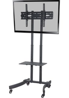 PROPER Portable Trolley TV Stand with Bracket - Black