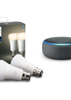 PHILIPS Hue White Bluetooth LED B22 Bulb Twin Pack & Echo Dot (2018) - Charcoal